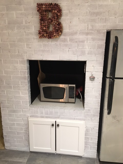 renovated kitchen, gray and white indoor bbq