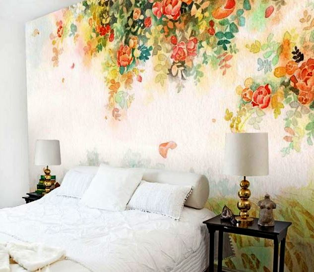 The Elegant Design Of The Bedroom With Its White Walls Provided Floral  Wallpaper Is Varied And Colorful To Make Your Bedroom More Colorful And  Attractive.