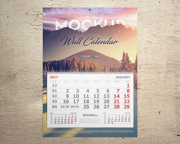 Mockup PSD Kalender 2019 Terbaru - Wall & Desk Calendar Mockups | 5 PSD Mockup Files