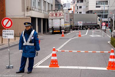 Heavy duty road block in Yanagibashi, Tokyo Marathon 2018, Asakusabashi, Tokyo, Japan.