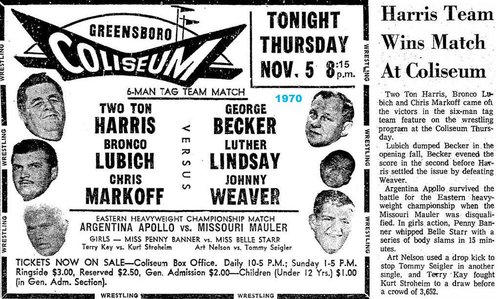 Thursday November 5 1970 At The Coliseum In Greensboro Nc