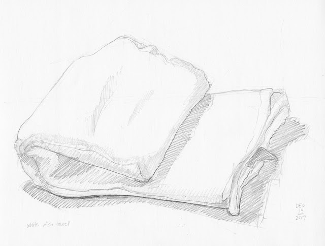 Daily Art 12-14-17 still life sketch in graphite number 70 - white dish towel