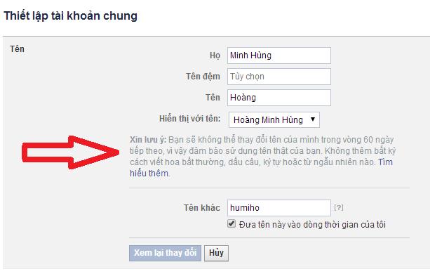đổi tên facebook 4