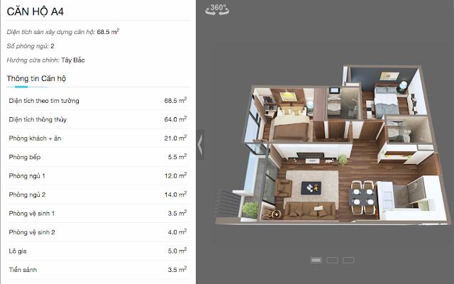 Thiết kế chi tiết căn A4 chung cư The Legend