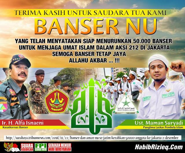 Banser dan Ansor NU se-Jatim Kerahkan 50.000 Anggota ke Jakarta, 2 Desember : Berita Terupdate Hari Ini