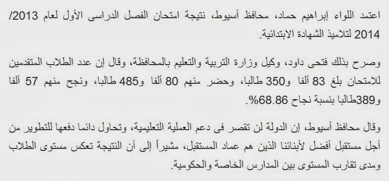 محافظة اسيوط: نتيجة امتحان الفصل الدراسى الأول لعام 2014/2013 الشهادة الإعدادية.