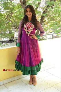 Actress Pooja Jhaveri Latest Stills in Purple Salwar Kameezt at Dwaraka Success Meet  0257.JPG