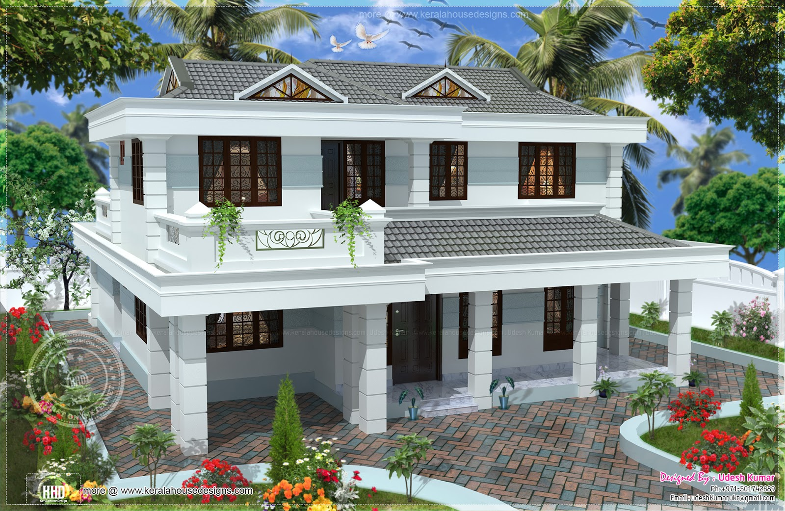 255 square yards double storied house design kerala home for 2 story homes with balcony
