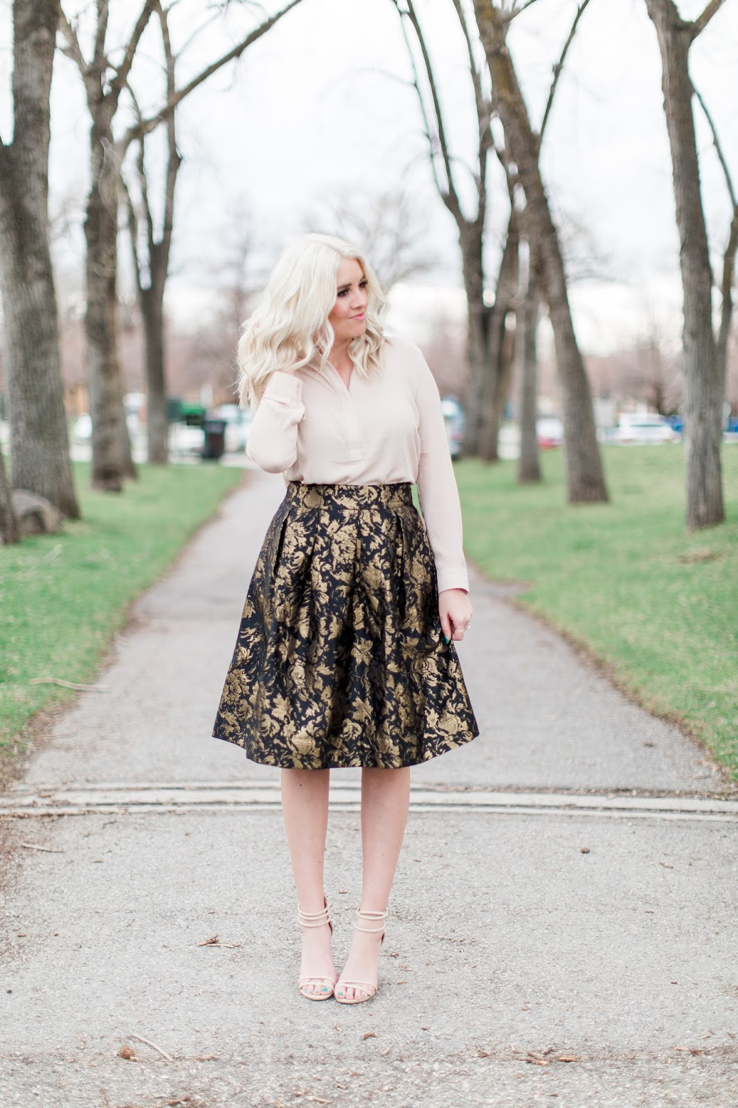 Nude Heels, Spring Outfit, Jacquard