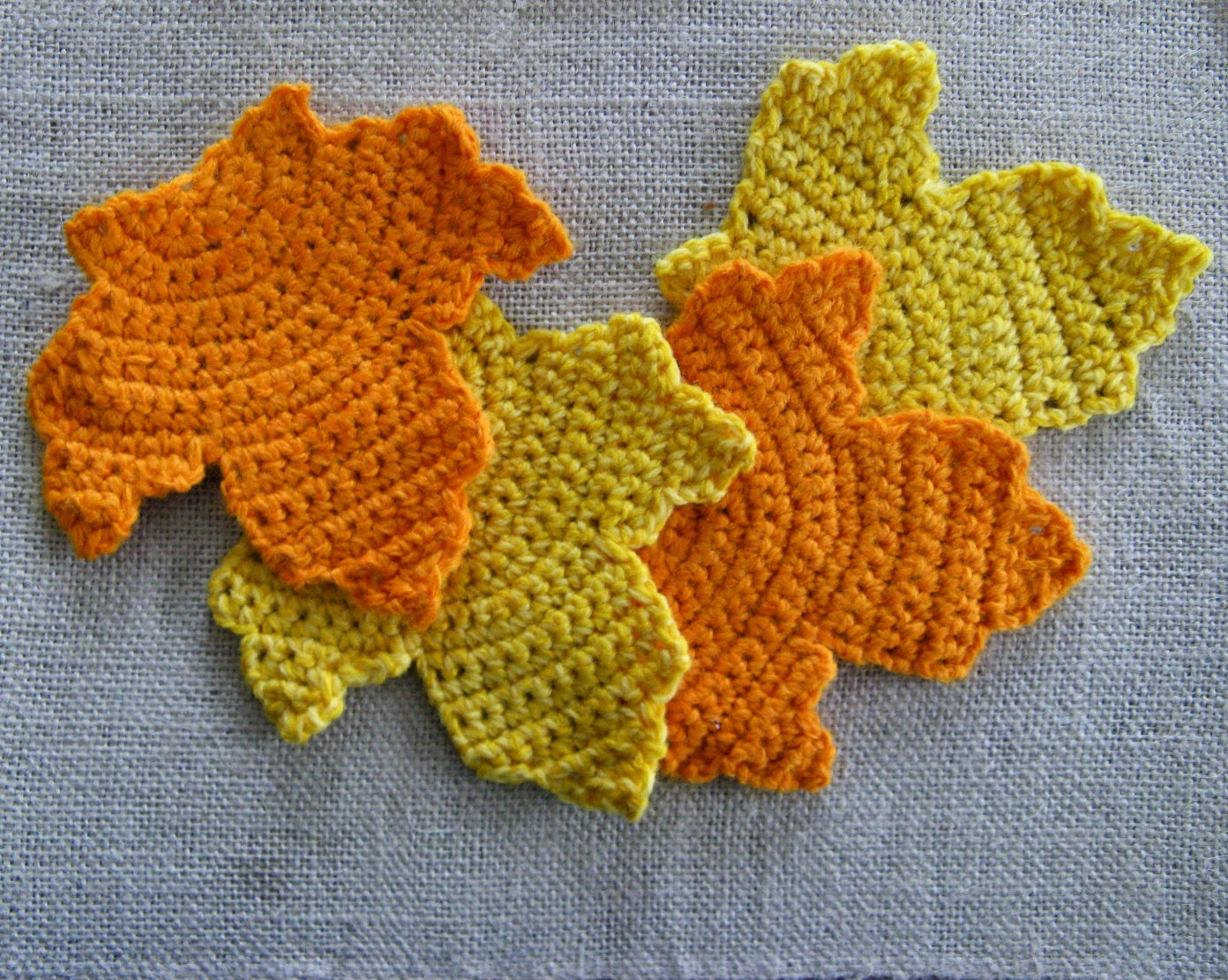 Happy as a Lark: Crochet Autumn Leaf Coasters