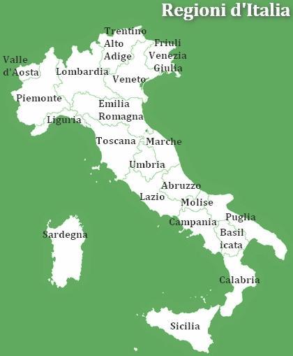 Regioni Ditalia E Capoluoghi Di Provincia Elenco E Cartina