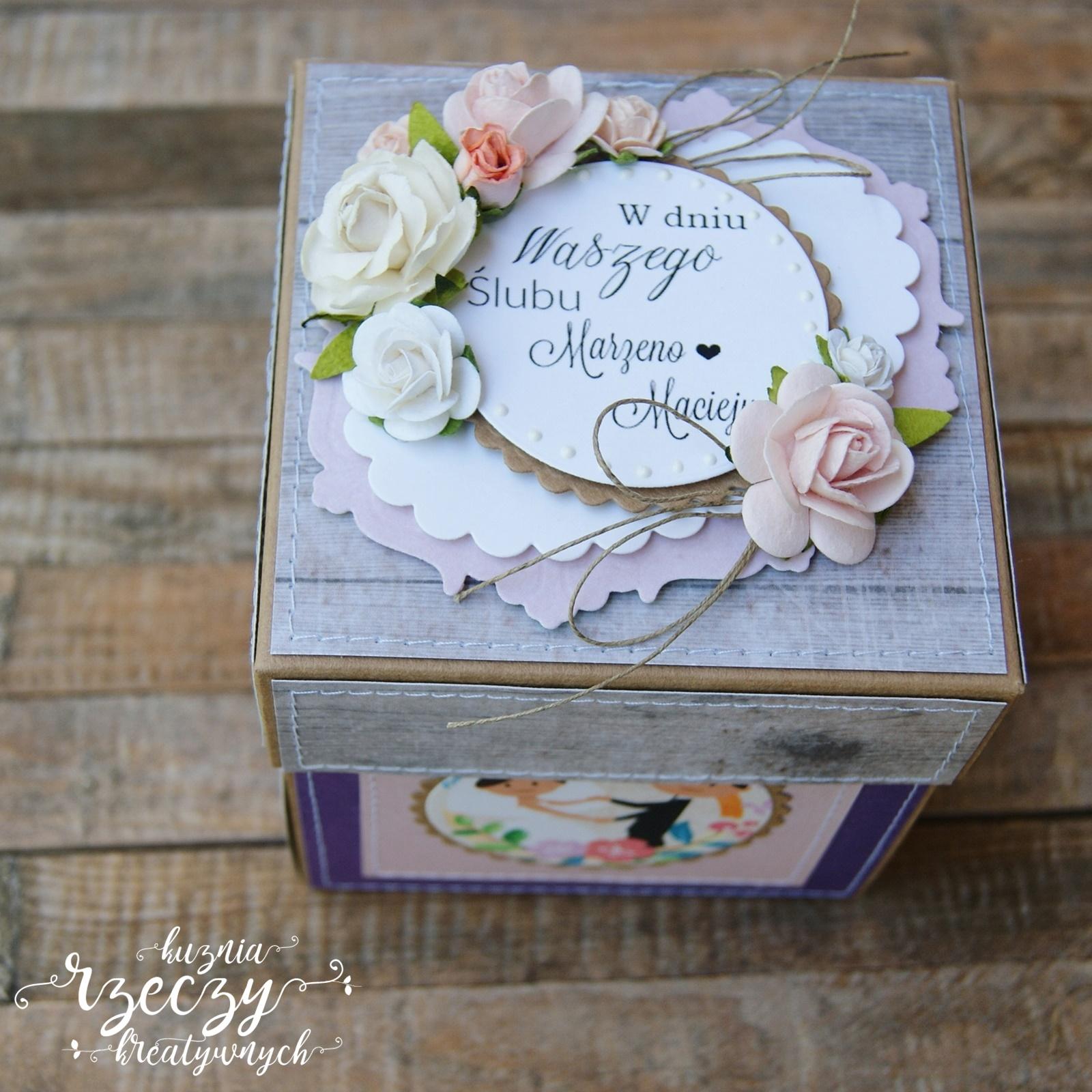 Kreatywny, warstwowy exploding box z okazji ślubu Marzeny i Macieja.