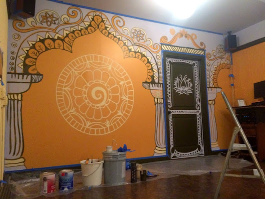 Yoga Studio Mural at Yogawood- the Process from Sketches to Painting