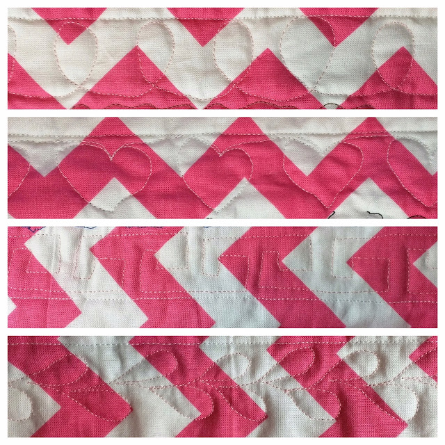 Designs of loops, hearts, Greek key, and leaves in free-motion quilting