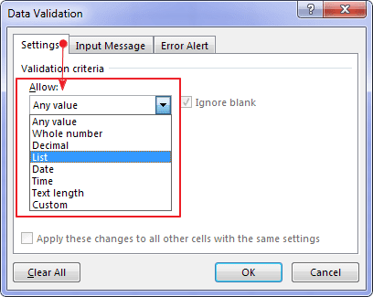 Data Validation Allow Criteria Excel