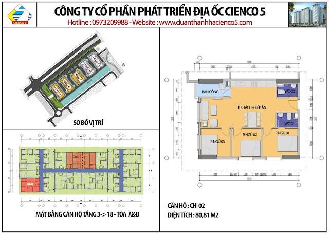 Mặt bằng căn hộ CH02 tầng 3-18 tòa HH02A&B