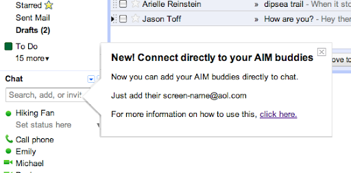 Official Gmail Blog: Changes and improvements to AIM