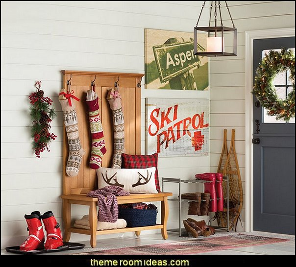 Ski cabin decorating  Christmas decorating ideas - Christmas decor - Christmas decorations - Christmas kitchen decor - santa belly pillows - Santa Suit Duvet covers - Christmas bedding - Christmas pillows - Christmas  bedroom decor  - winter decorating ideas - winter wonderland decorating - Christmas Stockings Holiday decor Santa Claus - decorating for Christmas - 3d Christmas cards