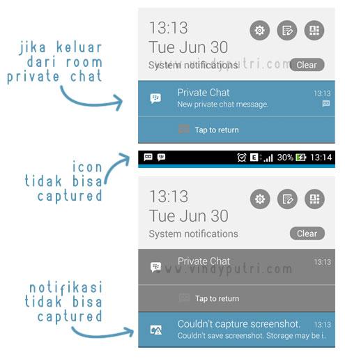 Icon dan notifikasi Private Chat BBM v2.9.0.44