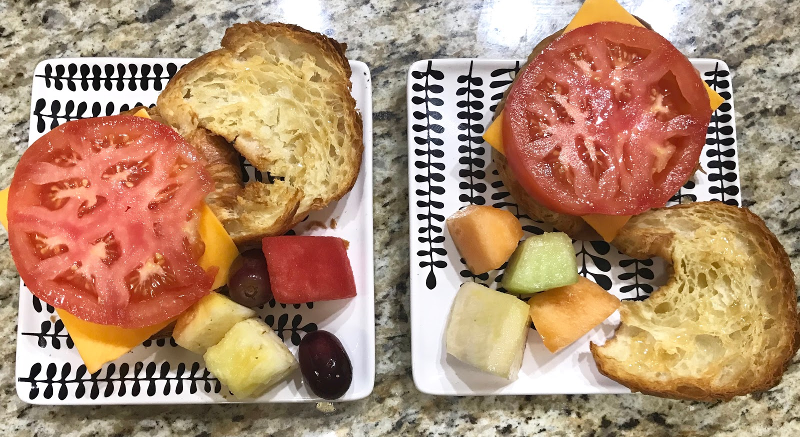 Image: Side fruit with tomato on bread