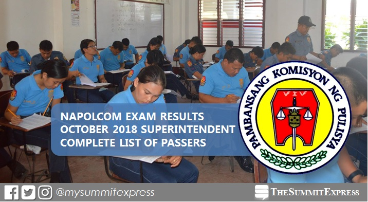 LIST OF PASSERS: October 2018 NAPOLCOM promotional exam result for Superintendent