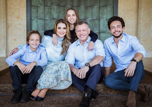 King Abdullah, Queen Rania, Crown Prince Hussein, Princess Iman, Prince Hashem and Princess Salma of Jordan