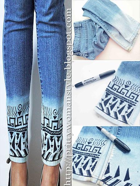 Как да нарисуваме бордюр на дънки с перманентен маркер