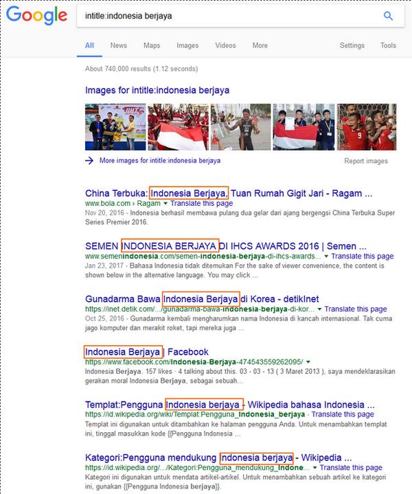 Hasil Pencarian Google Dengan Keyword: 'intitle:indonesia berjaya'