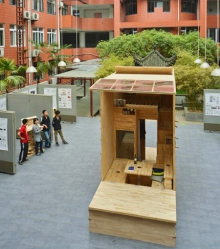 Mini vivienda de madera totalmente funcional.