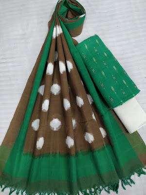 Adorable double ikkat cotton dress materials with top, dupatta and bottom | Salwars, chudidars, suits, dupatta, chunni, No cash on delivery. | No COD