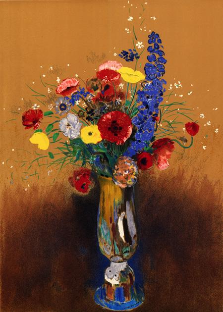 オディロン・ルドン、不気味な「目」を描いた画家の作品、10枚【a】 長首の壺の草花 1912