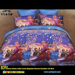 Sprei Custom Katun Lokal Anak Rapunzel Kartun Karakter 3D Biru