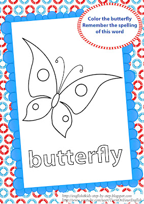 butterfly coloring page for learning English