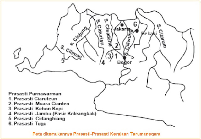 Peta ditemukannya prasasti tarumanegara - Isi dan Gambar Prasasti Ciaruteun, Kebon Kopi, Jambu, Tugu, Lebak, Pasir Awi, dan Muara Cianten
