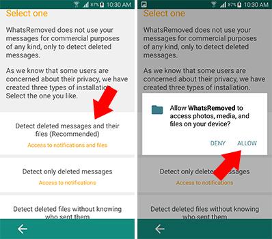 اعطاء الصلاحيات لتطبيق WhatsRemoved