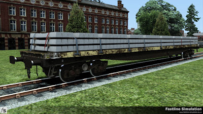 Fastline Simulation: A work weary YQA Parr with a full load of concrete sleepers.