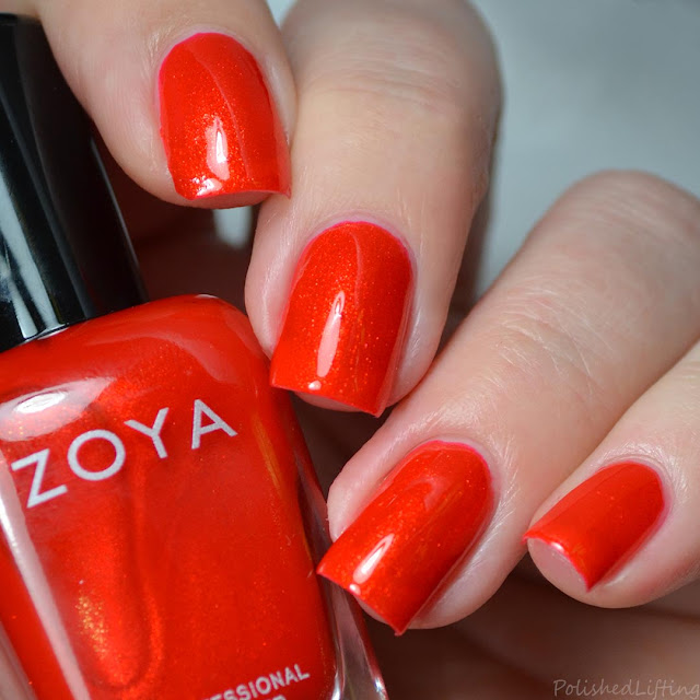 orange red shimmer nail polish