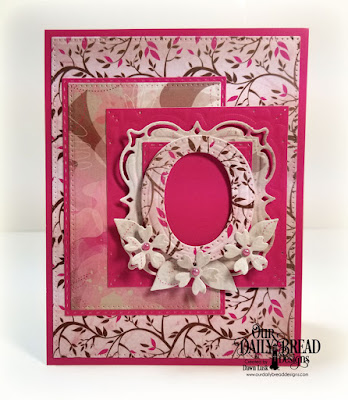 Our Daily Bread Designs Paper Collection: Beautiful Blooms, Custom Dies: Letter O, Lacey Layered Squares, Bitty Blossoms, Pierced Rectangles, Double Stitched Rectangles, Double Stitched Squares