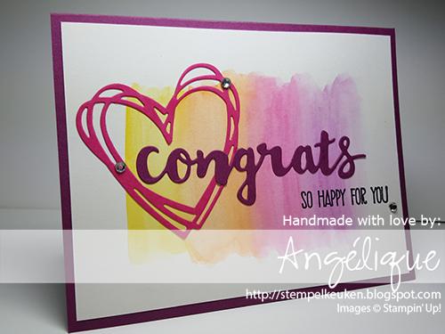de Stempelkeuken | Stampin' Up! | #sunshinesayings #stampinup #stampinupnl #stempelkeuken #handmade #bighot #thinlits #framelits #richrazzleberry #melonmambo #pumpkinpie #daffodildelight #congrats #wedding #cards #card #kaart #westland #denhaag