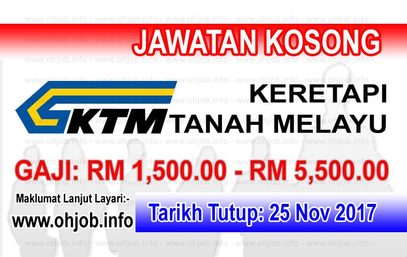 Jawatan Kerja Kosong KTMB - Keretapi Tanah Melayu Berhad logo www.ohjob.info november 2017