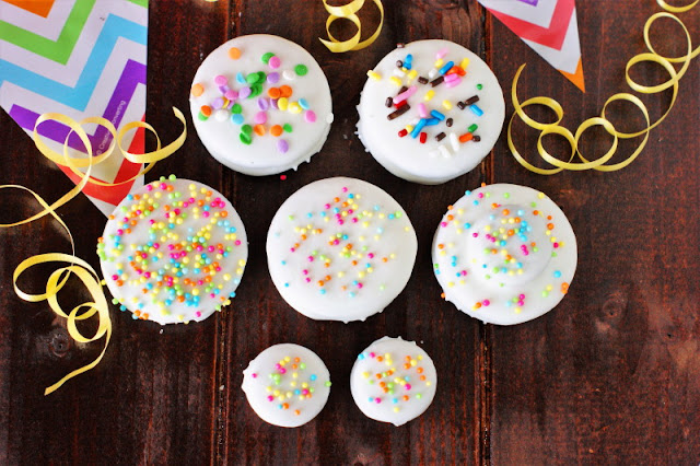 White Chocolate Birthday Cake Oreos with Sprinkles Image
