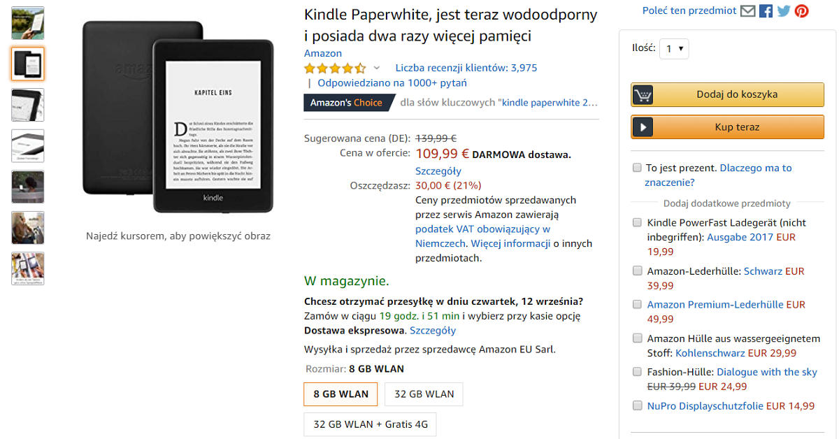 Przecna na czytniki Kindle Paperwhite 4 i Kindle 10 w Amazon.de