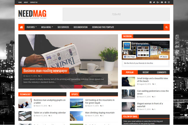 NeedMag – Responsive Magazine Blogger Template
