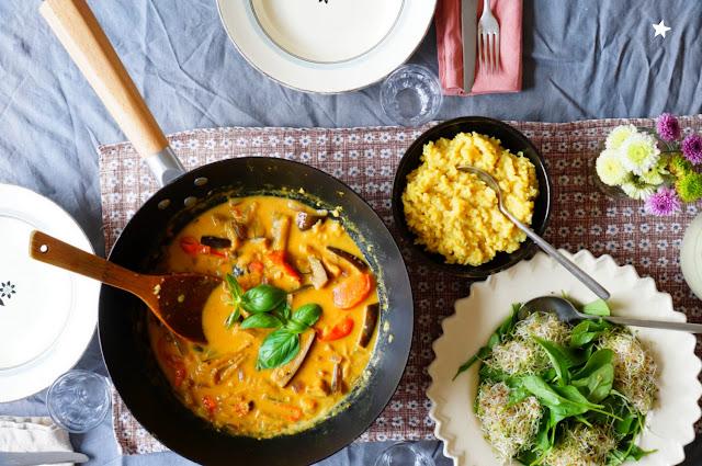 curry aubergines huile essentielle gingembre vegan manger sain