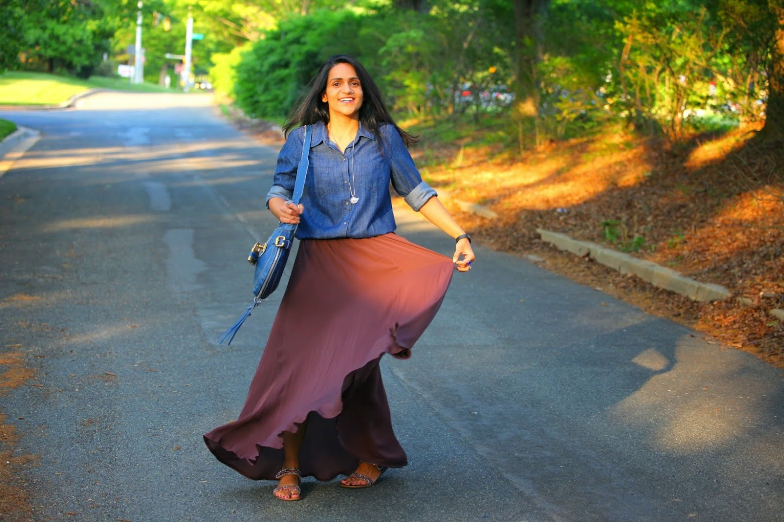 Chambray Shirt - GAP Maxi Skirt - Stylein, Footwear - From India Bag - Chloe Tanvii.com