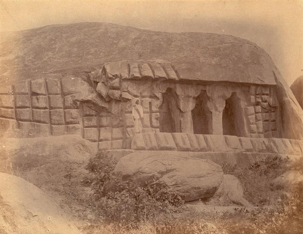 Unfinished Cave Temple, Mamallapuram in Tamil Nadu - c.1885