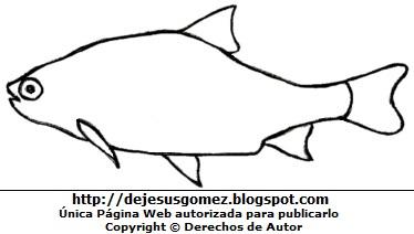 Dibujo de un pez fácil de dibujar y colorear pintar e imprimir. Dibujo de un pez hecho por Jesus Gómez