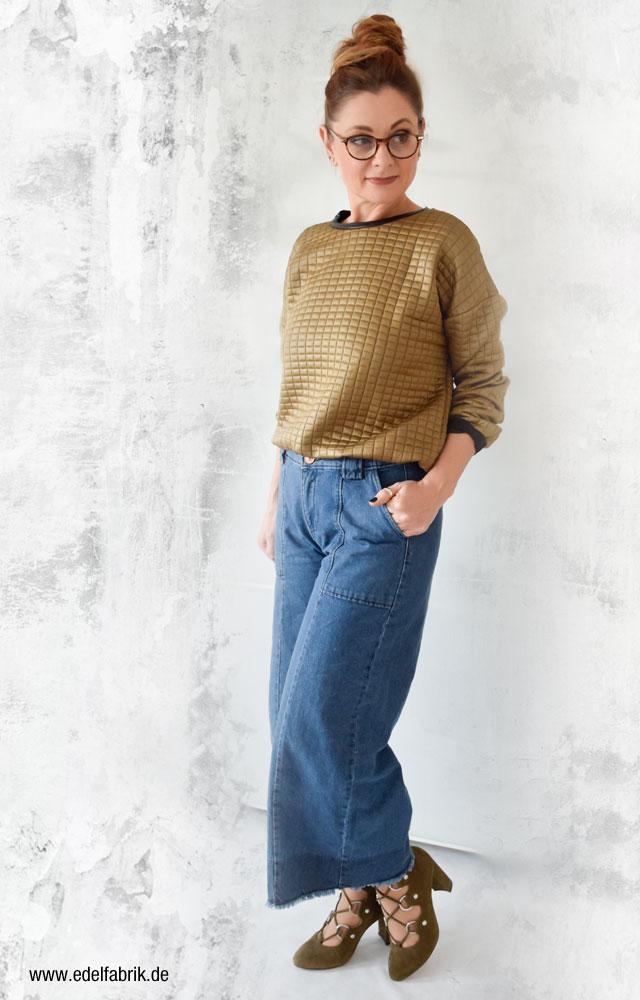 Ü40 Mode, Jeansculotte mit Sandaletten kombniniert