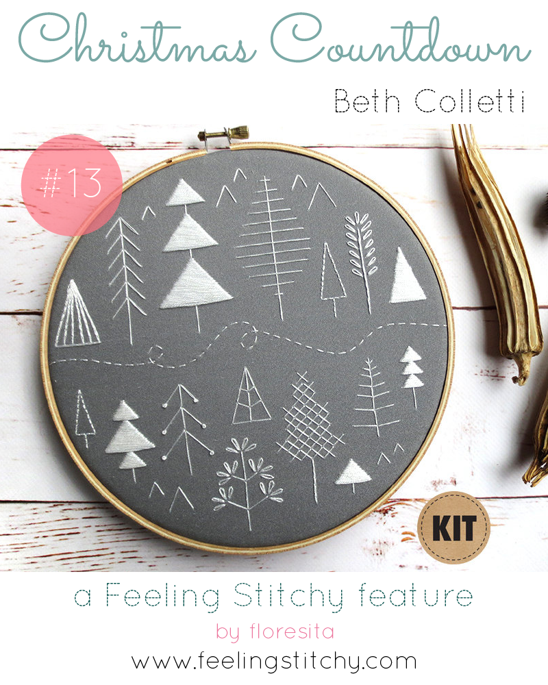 Christmas Countdown 13 - Beth Colletti Folk Art Embroidery Kit, featured on Feeling Stitchy by floresita