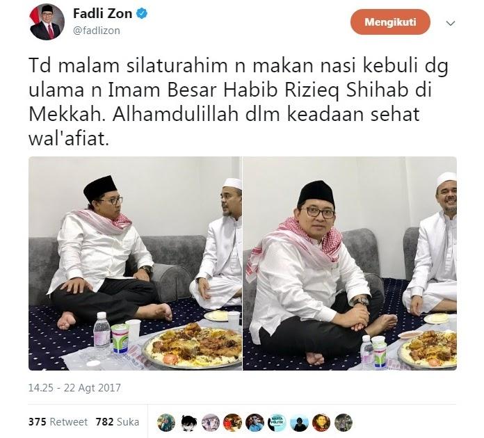 Kunjungi Habib Rizieq di Mekkah, Fadli Zon Banjir Pujian Netizen, Ada Juga Yang Kejang-kejang